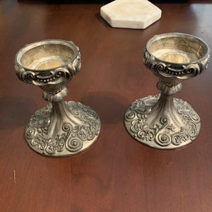 Godinger Candle Holders Set of Two Silver Plated